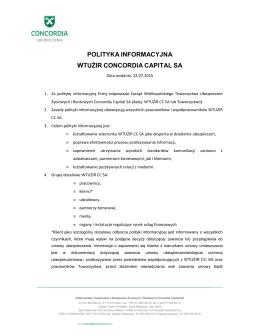 polityka informacyjna wtużir concordia capital sa