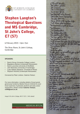 Stephen Langton`s Theological Questions and MS Cambridge, St