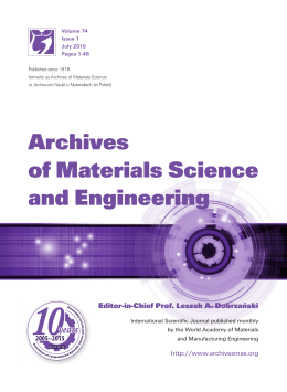 Editorial pages - Archives of Materials Science and Engineering