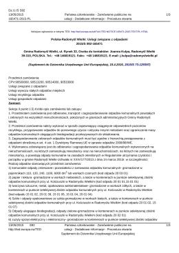 Polska-Radomyśl Wielki: Usługi związane z odpadami