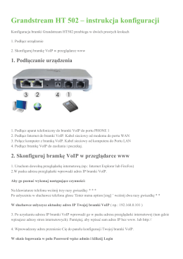 Grandstream HT 502 – instrukcja konfiguracji