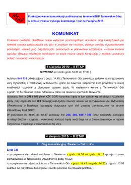 KOMUNIKAT - MZKP Tarnowskie Góry