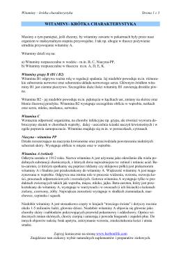 WITAMINY- KRĚTKA CHARAKTERYSTYKA