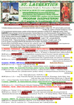 Program duszpasterski od 13 IX do 14 X 2015 r.
