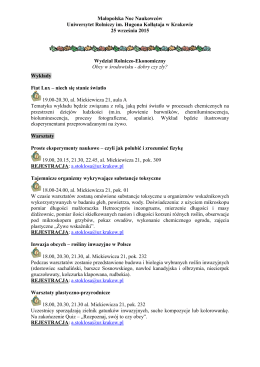 Małopolska Noc Naukowców Uniwersytet Rolniczy im. Hugona