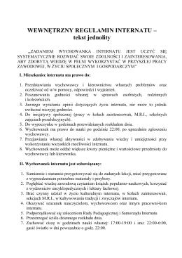 Wewnętrzny regulamin internatu