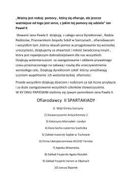 Ofiarodawcy II SPARTAKIADY - Zespół Szkół w Szerzynach