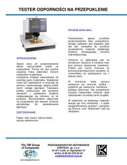 tester odporności na przepuklenie - Przedsiębiorstwo Inżynierskie