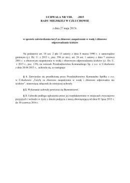 w sprawie zatwierdzenia taryf za zbiorowe zaopatrzenie w wodę i