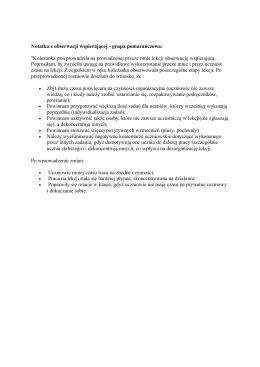 Notatka z obserwacji wspierającej - grupa