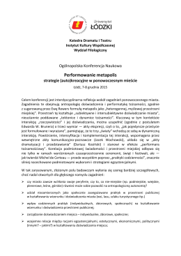 PERFORMOWANIE METAPOLIS STRATEGIE (AUTO)KREACYJNE