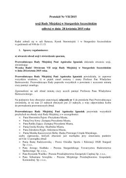 Protokół nr VII/2015 sesji Rady Miejskiej w