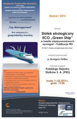 """Statek ekologiczny ECO """"Green Ship"""""""
