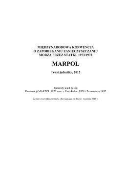 Jednolity tekst konwencji MARPOL w polskiej wersji językowej
