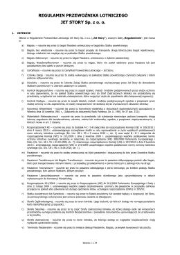 Regulamin Przewoźnika Lotniczego