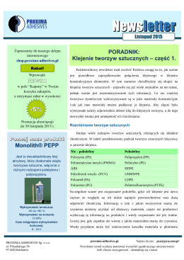 Newsletter - PROXIMA ADHESIVES