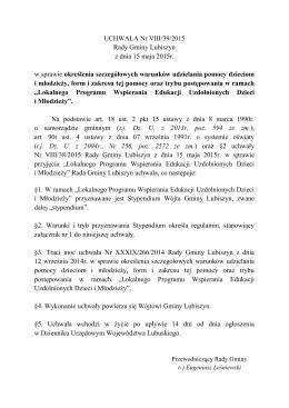 Uchwała nr VIII/39/2015 Rady Gminy Lubiszyn z dnia 15 maja 2015r.