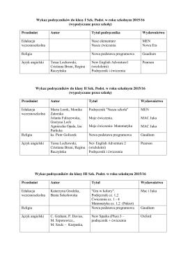Lista podręczników w szkole podstawowej.