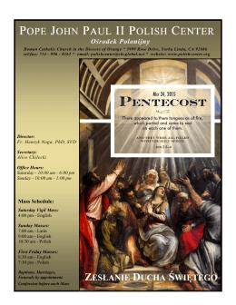 zesłanie ducha świętego - Pope John Paul II Polish Center