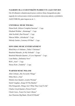 NAGRODY DLA UCZESTNIKÓW PLEBISCYTU JAZZ TOP 2015 Oto 60 albumów