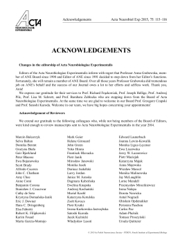 ACKNOWLEDGEMENTS - Acta Neurobiologiae Experimentalis