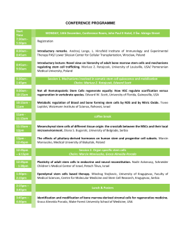 conference programme - Regenerative potential of bone marrow