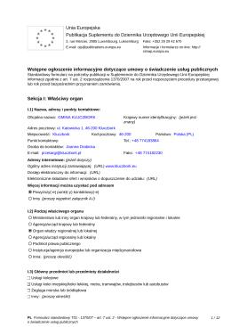 Wstępne ogłoszenie informacyjne dotyczące umowy o