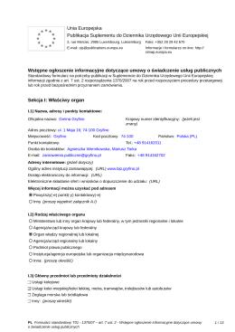 01 Wstępne ogłoszenie informacyjne dotyczące umowy o