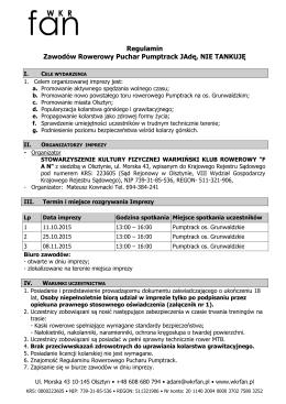 Regulamin Zawodów Rowerowy Puchar Pumptrack JAdę, NIE