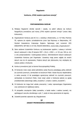 "Regulamin konkursu ""STAG wspiera sportowe emocje"" § 1"
