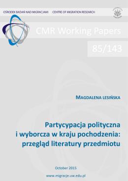 Partycypacja polityczna i wyborcza w kraju pochodzenia: przegląd