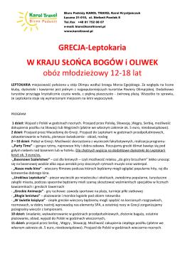 GRECJA-Leptokaria W KRAJU SŁOŃCA BOGÓW i OLIWEK obóz