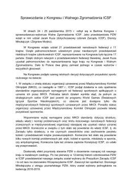 Sprawozdanie z Kongresu i Walnego Zgromadzenia ICSF