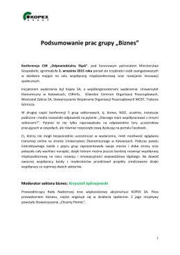 Podsumowanie prac grupy biznes, moderator: Krzysztof