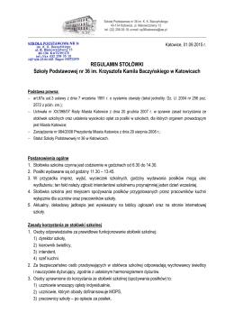 Regulamin stołówki - SP 36 im. KK Baczyńskiego w Katowicach