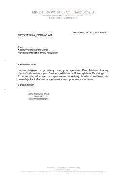 Warszawa, 03 czerwca 2015 r. $SYGNATURA_SPRAWY.AM Pani