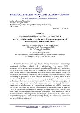 Recenzja rozprawy doktorskiej pani mgr Katarzyny Anny Wójcik p.t.