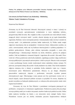 List otwarty do Pani Profesor Leny Kolarskiej – Bobińskiej,