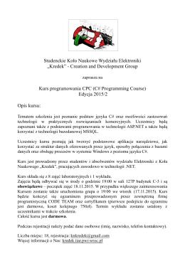 """Studenckie Koło Naukowe Wydziału Elektroniki """"Kredek"""""""