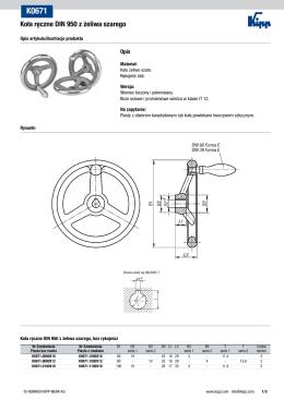 Arkusz danych K0671 Koła ręczne DIN 950 z żeliwa szarego