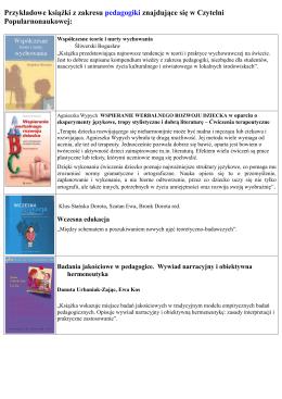 Przykładowe książki z zakresu pedagogiki znajdujące się w Czytelni