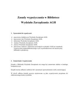 Zasady wypożyczania w Bibliotece Wydziału Zarządzania AGH