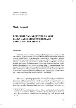 Refleksje na marginesie książki Jacka Gądeckiego o osiedlach