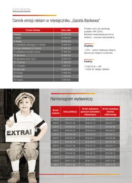 Harmonogram wydań i cennik reklam Gazety Bankowej