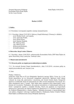Rozkaz Komendanta Hufca L4/2015 z dnia 10.04.2015r.