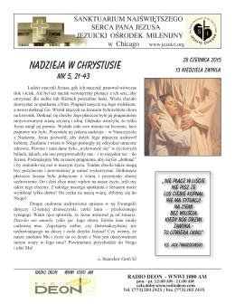 Niedziela 28 czerwca 2015 - Polscy Jezuici w Chicago