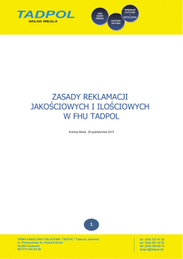 zasady reklamacji jakościowych i ilościowych w fhu tadpol