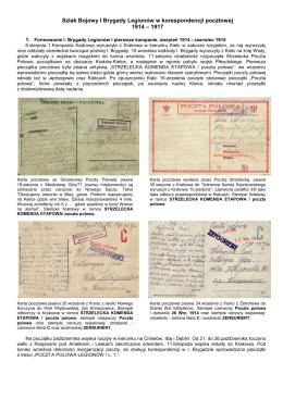 Szlak Bojowy I Brygady Legionów w korespondencji pocztowej 1914