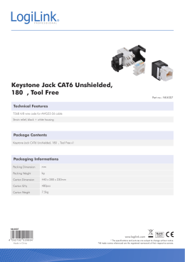 Keystone Jack CAT6 Unshielded, 180 , Tool Free