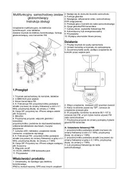 Instrukcja obsługi zestawu głośnomówiącego - zestaw